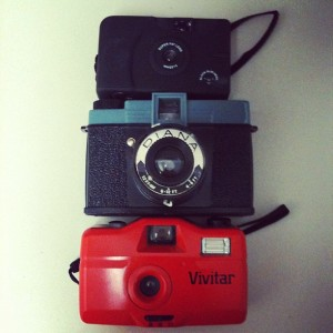 playing with toy cameras